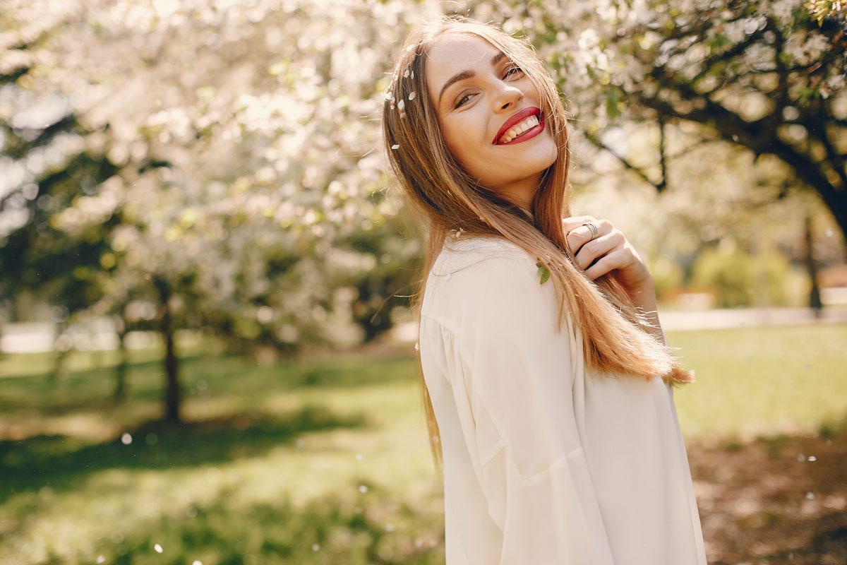 elegant Ukrainian girl spring park