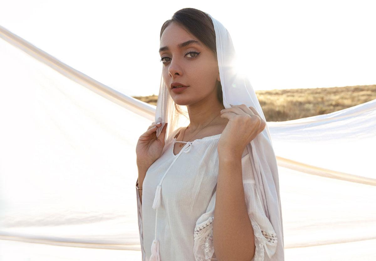 muslim woman in white headscarf